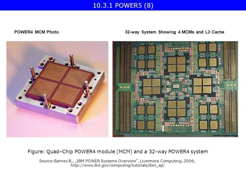 "POWER4 MCM Photo32-way System Showing 4 MCMs and L3 Cache Figure: Quad–Chip POWER4 module (MCM) and a 32-way POWER4 system Source:Barney B., ""IBM POWER Systems Overview , Livermore Computing, 2006, POWER5 (8)"