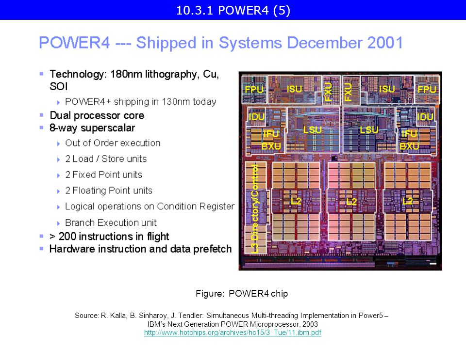 Figure: POWER4 chip Source: R. Kalla, B. Sinharoy, J.
