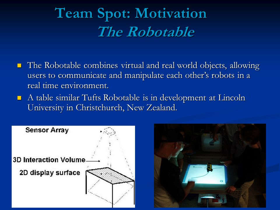 Team Spot: Motivation The Robotable The Robotable combines virtual and real world objects, allowing users to communicate and manipulate each other's robots in a real time environment.