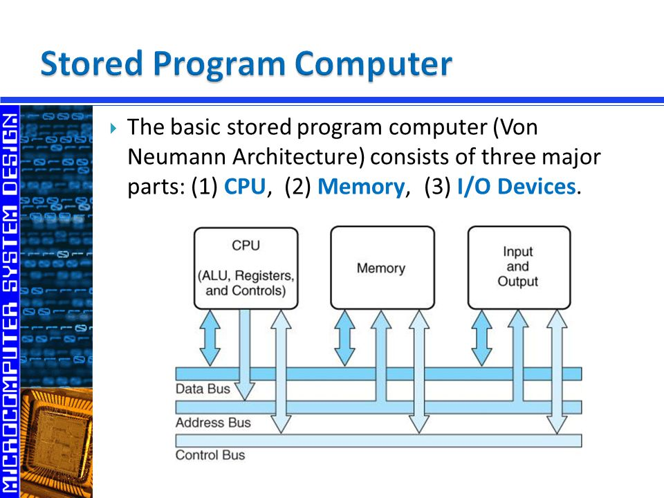  The basic stored program computer (Von Neumann Architecture) consists of three major parts: (1) CPU, (2) Memory, (3) I/O Devices.