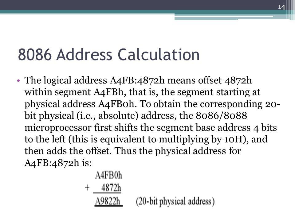 8086 Address Calculation The logical address A4FB:4872h means offset 4872h within segment A4FBh, that is, the segment starting at physical address A4FB0h.