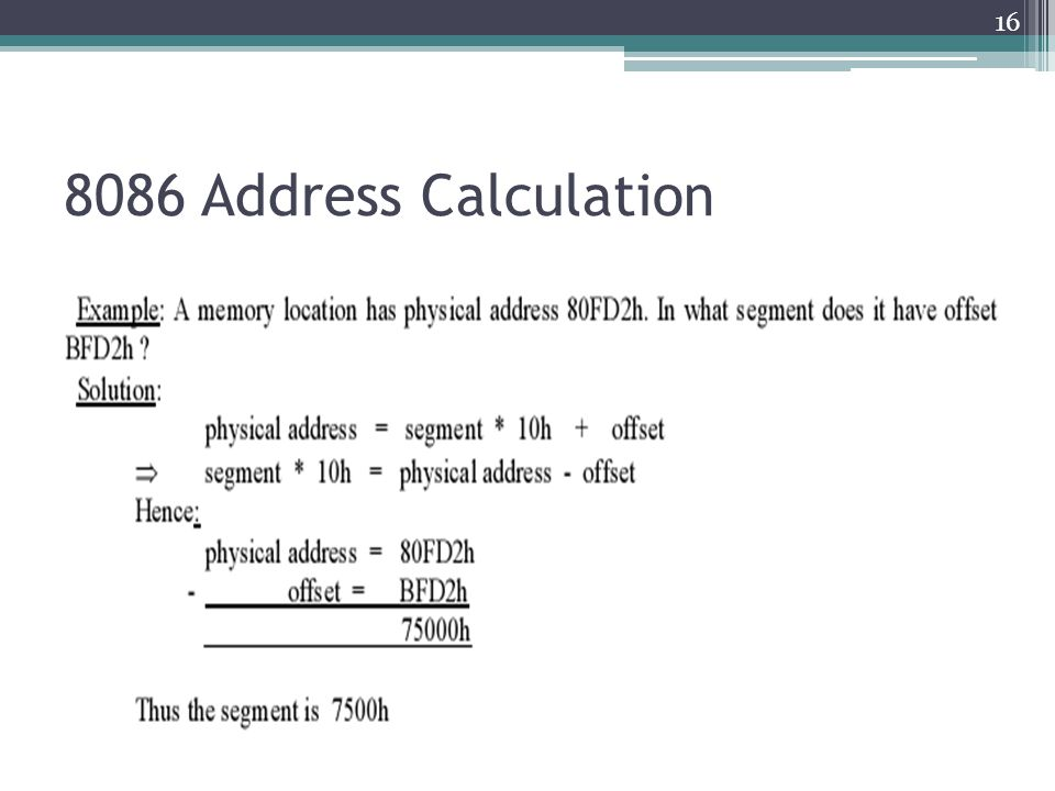 8086 Address Calculation 16