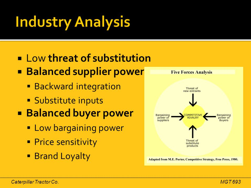  Low threat of substitution  Balanced supplier power  Backward integration  Substitute inputs  Balanced buyer power  Low bargaining power  Price sensitivity  Brand Loyalty Caterpillar Tractor Co.MGT 693