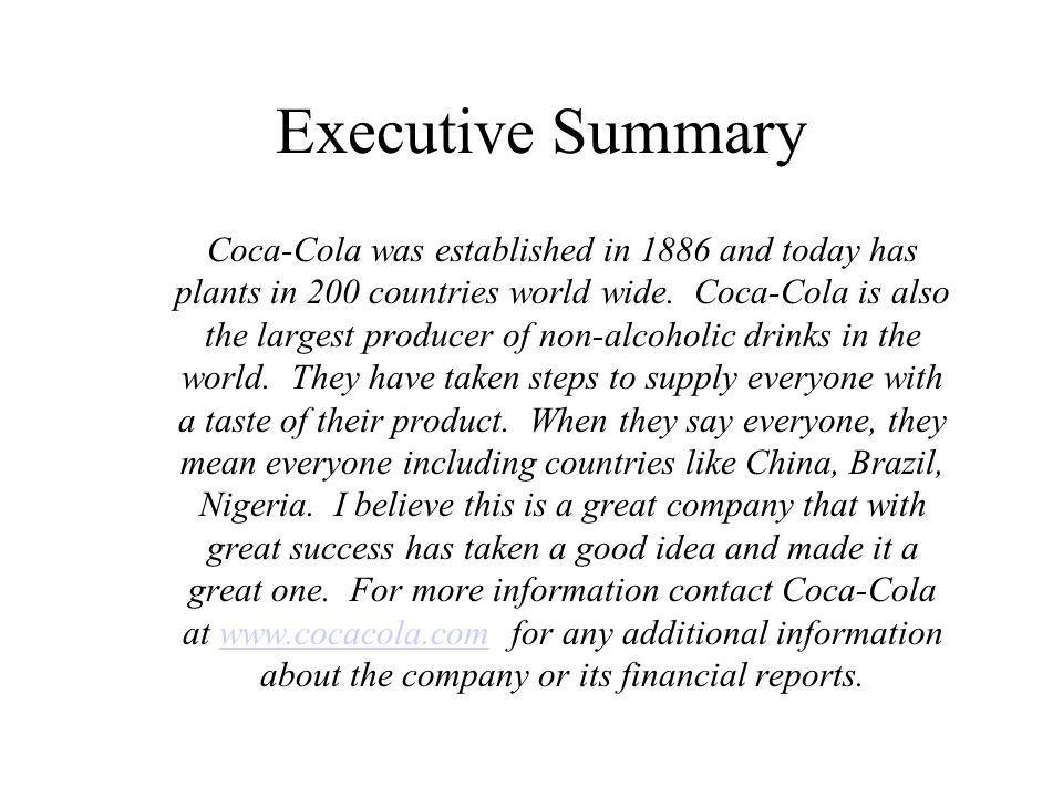 Coca Cola Garrett Roberts ACG2021 Sec Executive Summary Coca Cola