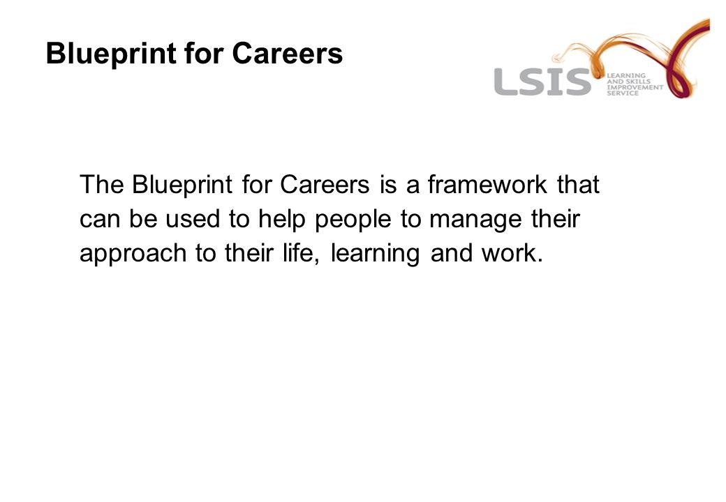 Introduction to the blueprint for careers for clcs presented by 9 blueprint for careers the blueprint for careers is a framework that can be used to help people to manage their approach to their life learning and work malvernweather Images