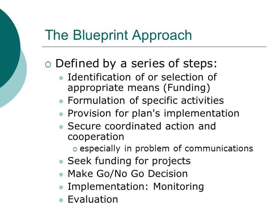 Project planning and the planning cycle pia ppt download 7 the blueprint approach defined by a series of steps identification malvernweather Gallery