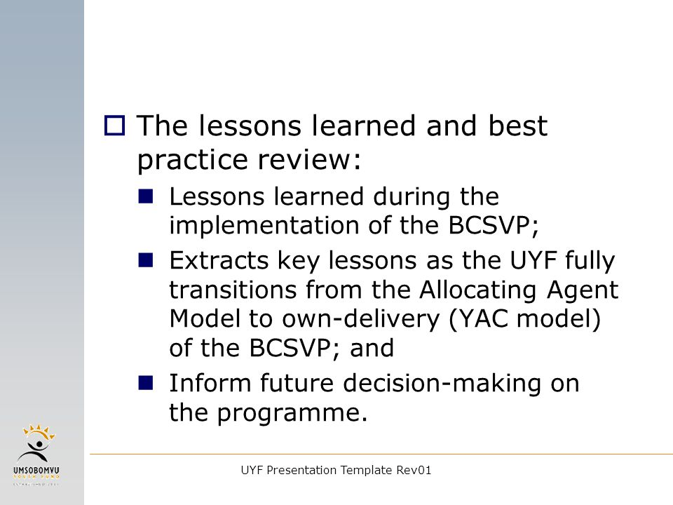 UYF Presentation Template Rev01 Perspectives on Impact Evaluation ...