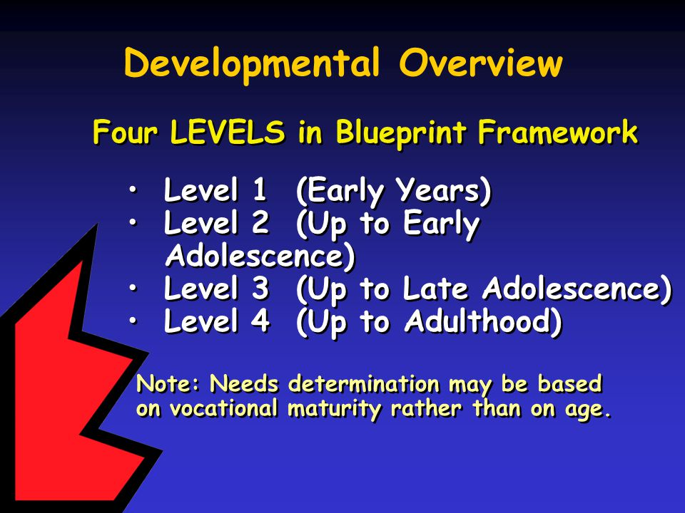 Blueprint for lifework designs blueprint for lifework designs ppt developmental overview four levels in blueprint framework level 1 early years level 2 malvernweather Gallery