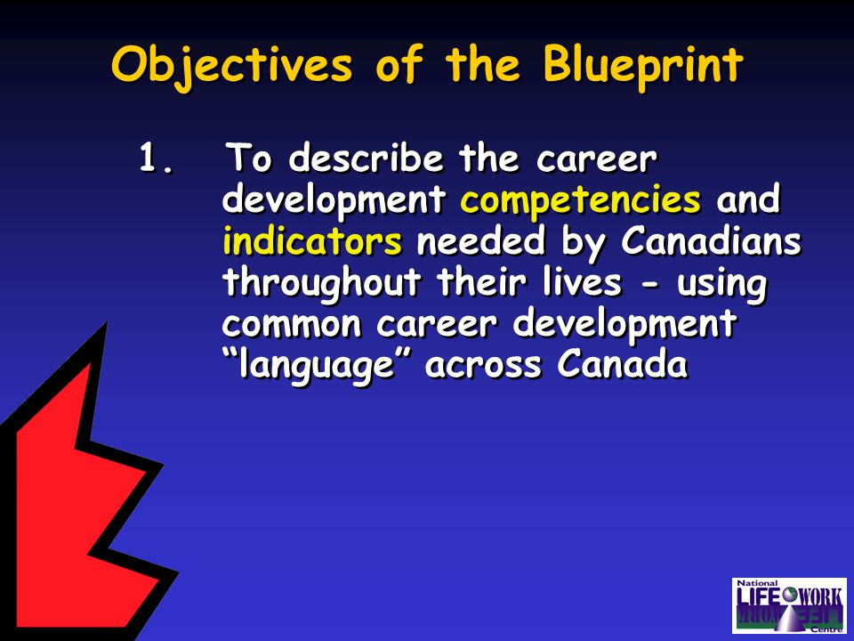 Blueprint for lifework designs blueprint for lifework designs ppt career development language across canada objectives of the blueprint 1 malvernweather Image collections