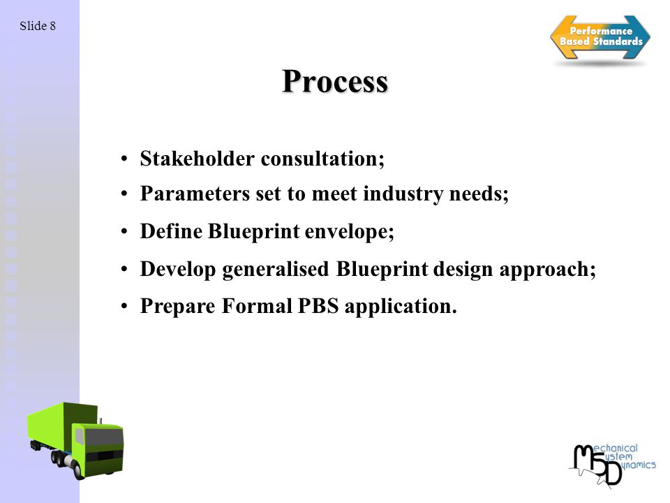 Migrating popular designs into law blueprint vehicles prime mover 8 slide 8 process stakeholder consultation parameters set to meet industry needs define blueprint envelope develop generalised blueprint design approach malvernweather Image collections