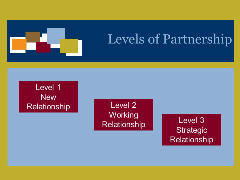 A Unique Voice Bridging Business and Policy to Shape the Competitiveness of the Workforce and Workplace 6 Levels of Partnership Level 1 New Relationship Level 2 Working Relationship Level 3 Strategic Relationship