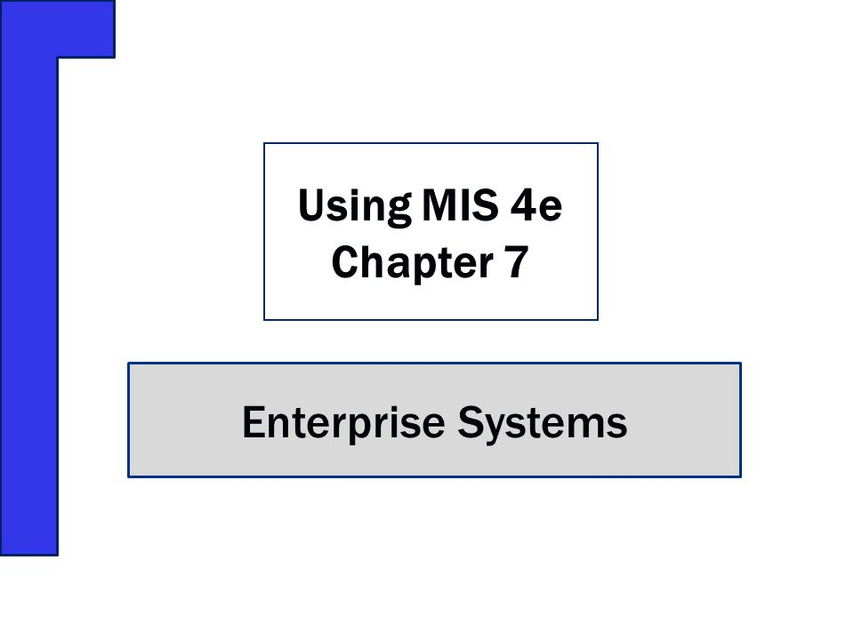 Enterprise Systems Using MIS 4e Chapter 7