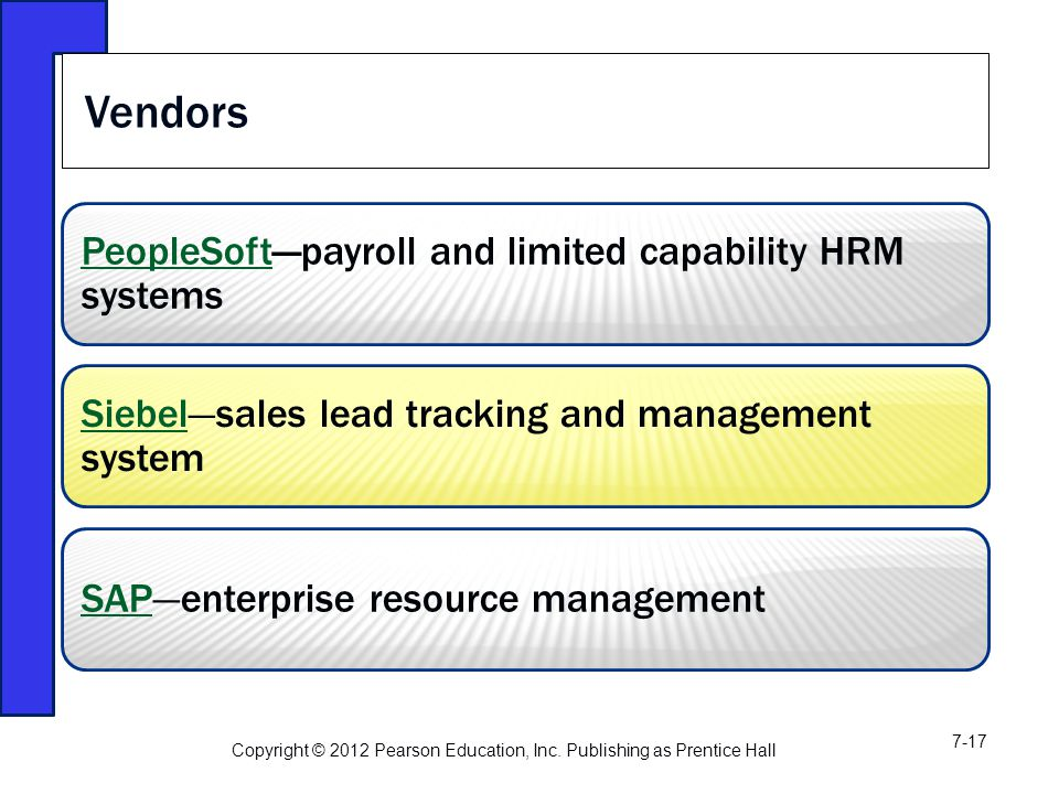 PeopleSoftPeopleSoft—payroll and limited capability HRM systems SiebelSiebel—sales lead tracking and management system SAPSAP—enterprise resource management Vendors Copyright © 2012 Pearson Education, Inc.
