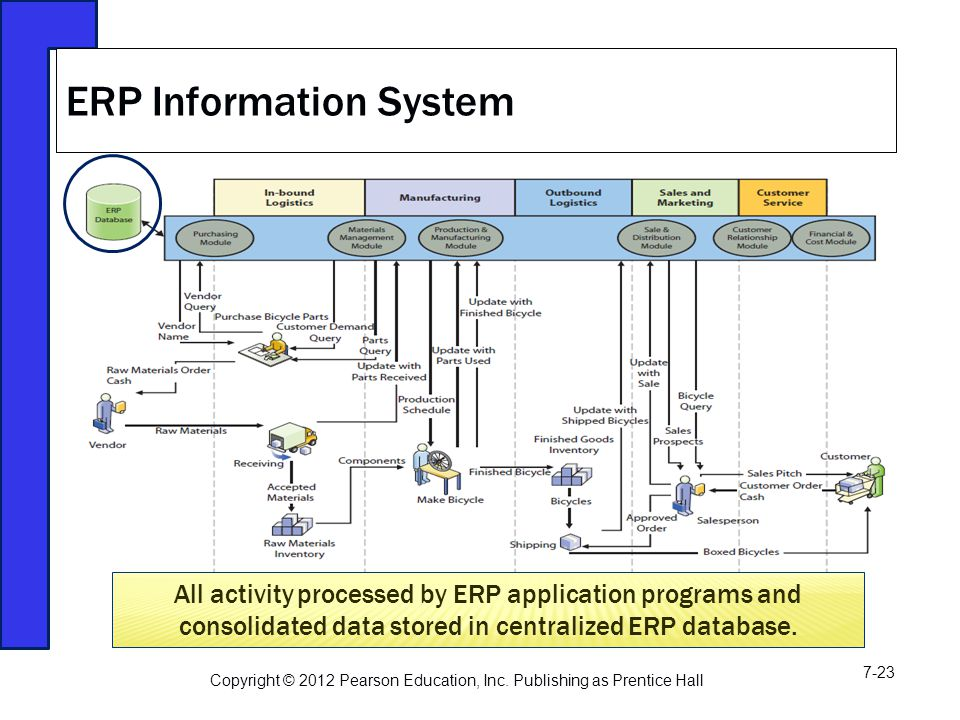 ERP Information System All activity processed by ERP application programs and consolidated data stored in centralized ERP database.