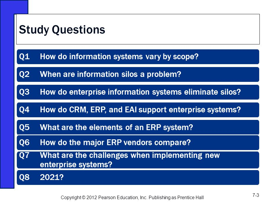 Q1 How do information systems vary by scope. Q2 When are information silos a problem.