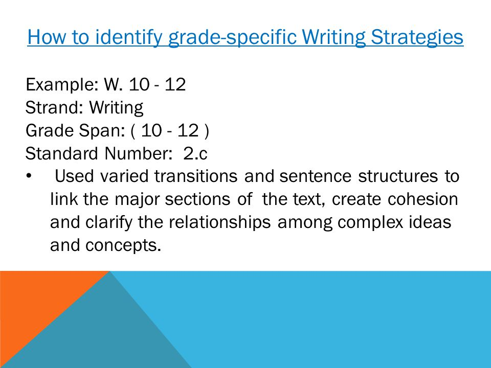 How to identify grade-specific Writing Strategies Example: W.
