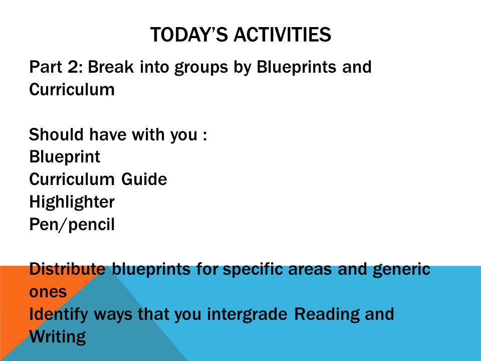 TODAY'S ACTIVITIES Part 2: Break into groups by Blueprints and Curriculum Should have with you : Blueprint Curriculum Guide Highlighter Pen/pencil Distribute blueprints for specific areas and generic ones Identify ways that you intergrade Reading and Writing