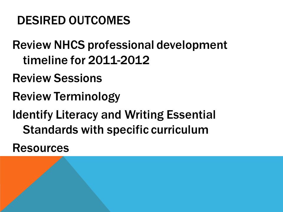 DESIRED OUTCOMES Review NHCS professional development timeline for Review Sessions Review Terminology Identify Literacy and Writing Essential Standards with specific curriculum Resources