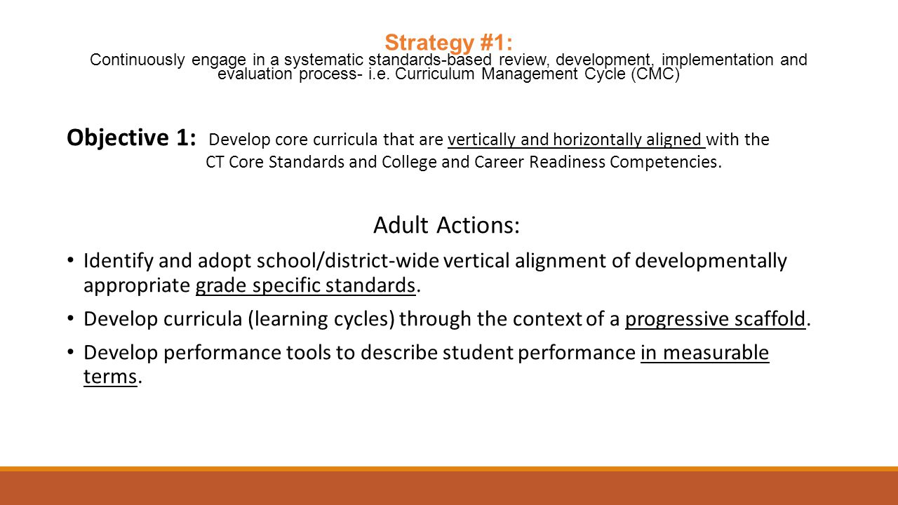 Objective 1: Develop core curricula that are vertically and horizontally aligned with the CT Core Standards and College and Career Readiness Competencies.