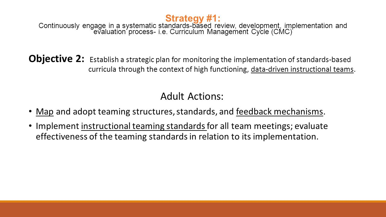 Objective 2: Establish a strategic plan for monitoring the implementation of standards-based curricula through the context of high functioning, data-driven instructional teams.