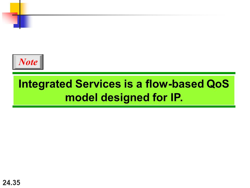 24.35 Integrated Services is a flow-based QoS model designed for IP. Note
