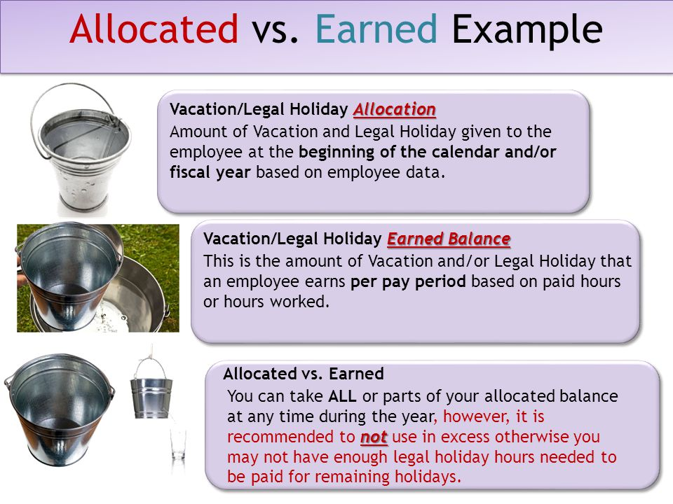 Earned Balance Vacation/Legal Holiday Earned Balance This is the amount of Vacation and/or Legal Holiday that an employee earns per pay period based on paid hours or hours worked.