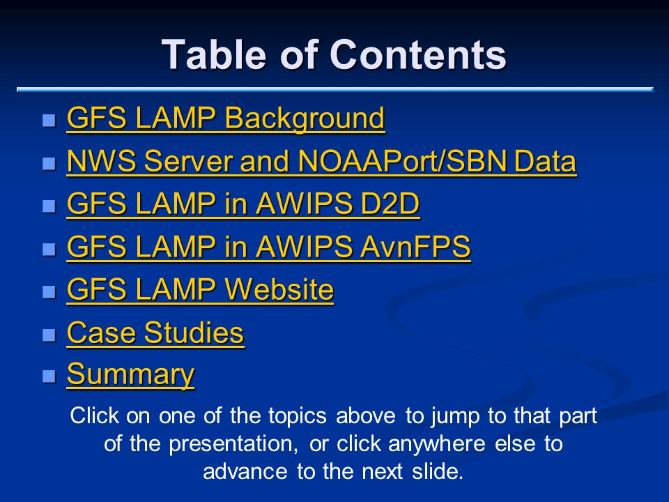 Accessing and Using GFS LAMP Products National Weather