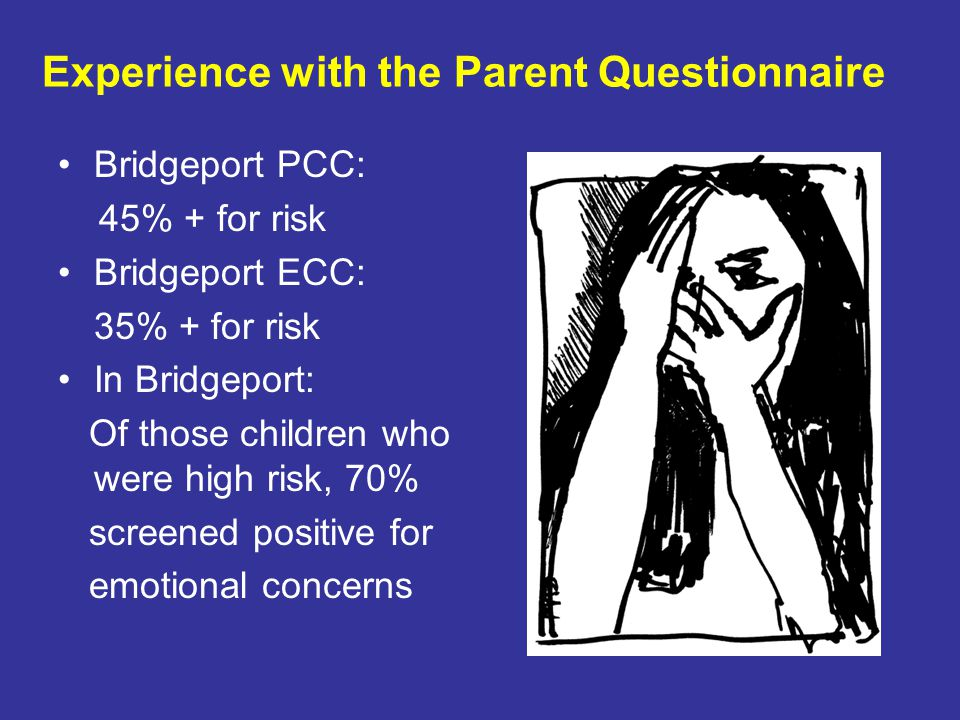 Bridgeport PCC: 45% + for risk Bridgeport ECC: 35% + for risk In Bridgeport: Of those children who were high risk, 70% screened positive for emotional concerns Experience with the Parent Questionnaire
