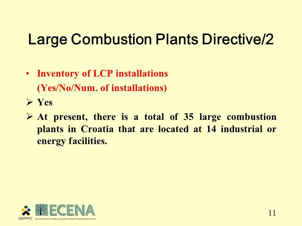 11 Large Combustion Plants Directive/2 Inventory of LCP installations (Yes/No/Num.