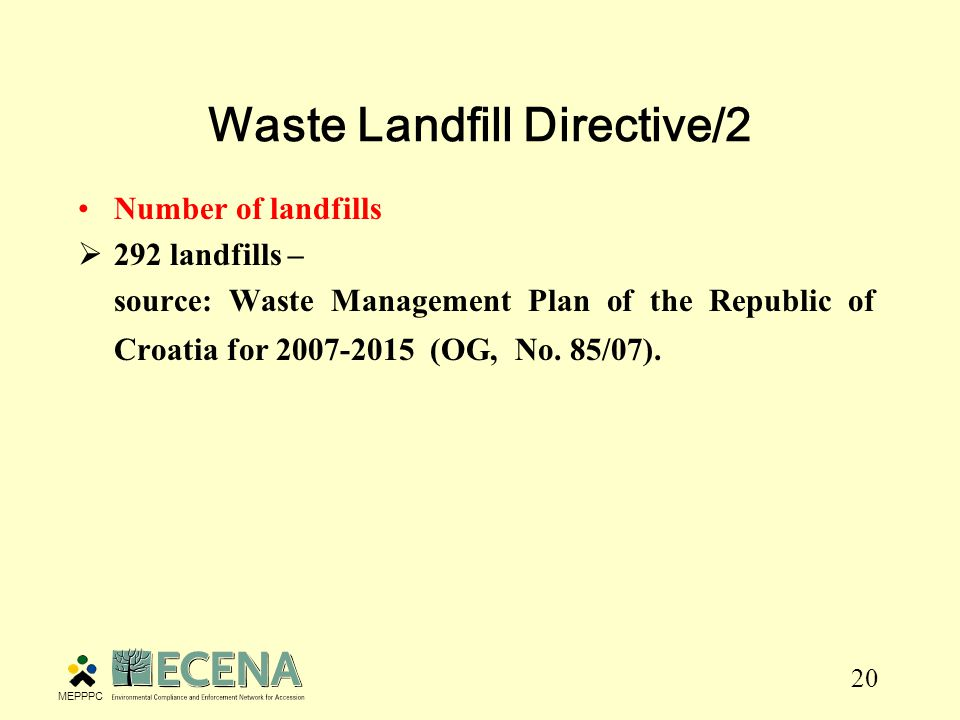 20 Waste Landfill Directive/2 Number of landfills  292 landfills – source: Waste Management Plan of the Republic of Croatia for (OG, No.
