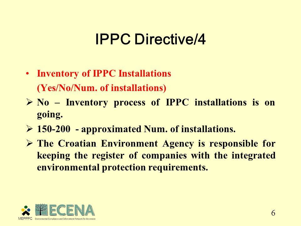6 IPPC Directive/4 Inventory of IPPC Installations (Yes/No/Num.