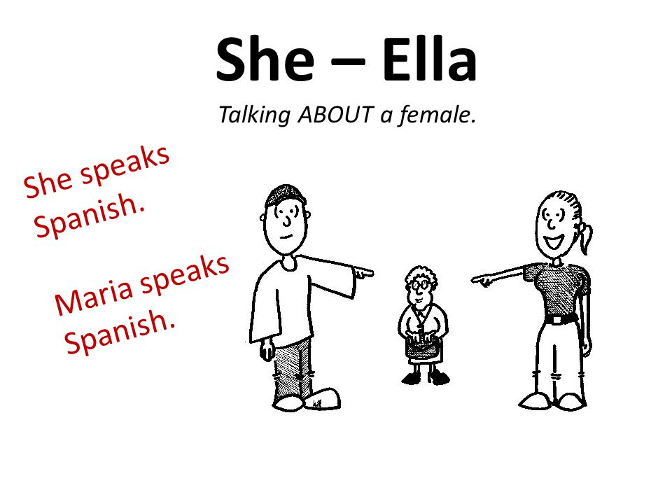 She – Ella Talking ABOUT a female. She speaks Spanish. Maria speaks Spanish.