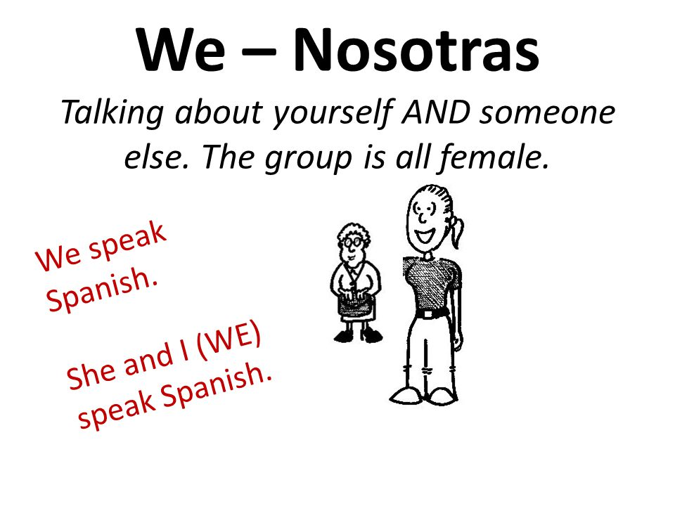 We – Nosotras Talking about yourself AND someone else.