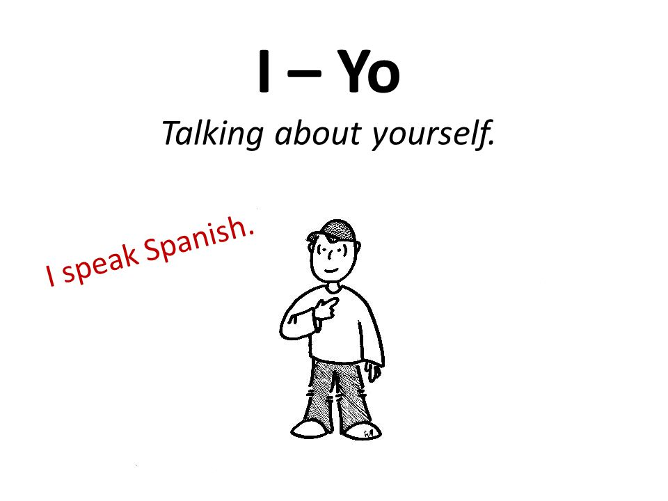 I – Yo Talking about yourself. I speak Spanish.