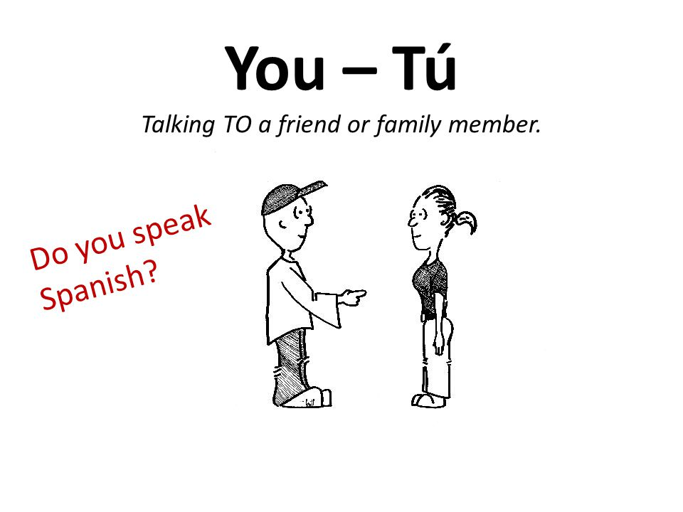 You – Tú Talking TO a friend or family member. Do you speak Spanish