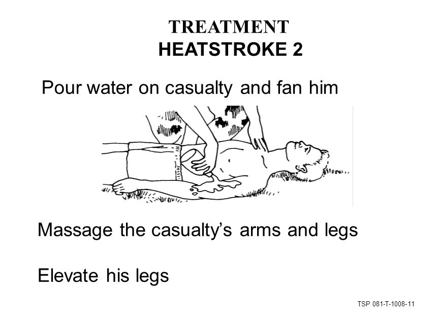 TSP 081-T Pour water on casualty and fan him Massage the casualty's arms and legs Elevate his legs TREATMENT HEATSTROKE 2