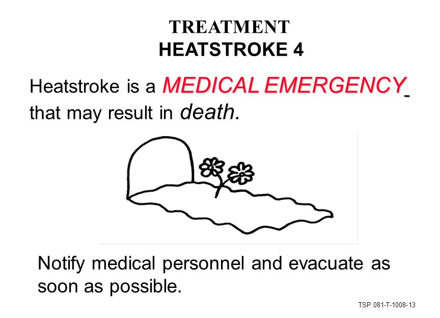 TSP 081-T MEDICAL EMERGENCY Heatstroke is a MEDICAL EMERGENCY that may result in death.