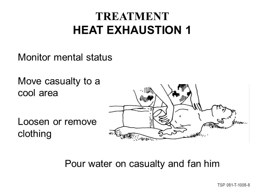 TSP 081-T TREATMENT HEAT EXHAUSTION 1 Monitor mental status Move casualty to a cool area Loosen or remove clothing Pour water on casualty and fan him