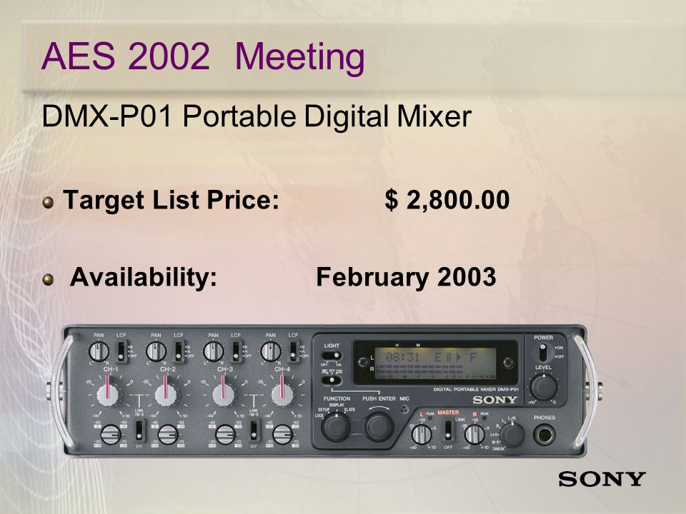 DMX-P01 Portable Digital Mixer Target List Price:$ 2, Availability:February 2003