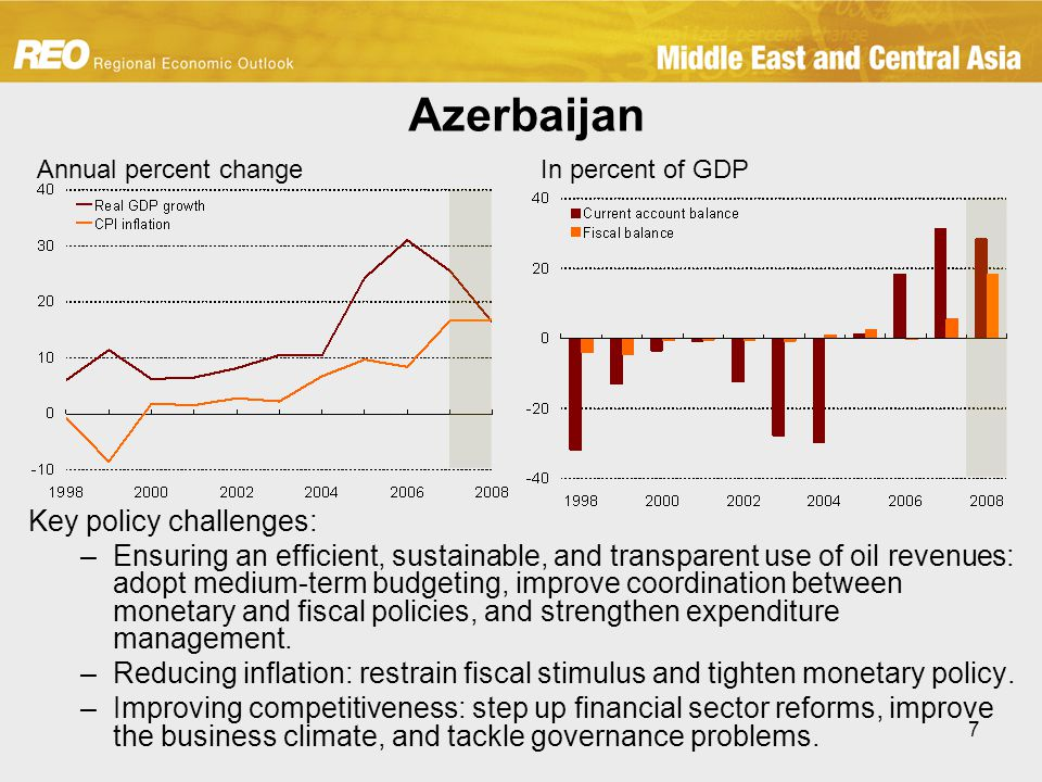 7 Azerbaijan Key policy challenges: –Ensuring an efficient, sustainable, and transparent use of oil revenues: adopt medium-term budgeting, improve coordination between monetary and fiscal policies, and strengthen expenditure management.
