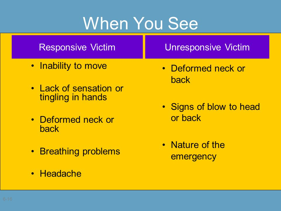 6-16 When You See Inability to move Lack of sensation or tingling in hands Deformed neck or back Breathing problems Headache Deformed neck or back Signs of blow to head or back Nature of the emergency Responsive VictimUnresponsive Victim