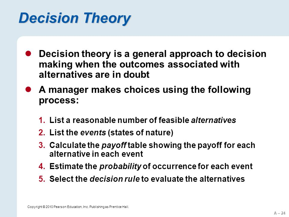 steps in decision theory approach