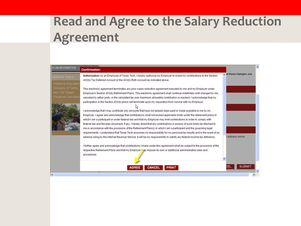 Read and Agree to the Salary Reduction Agreement