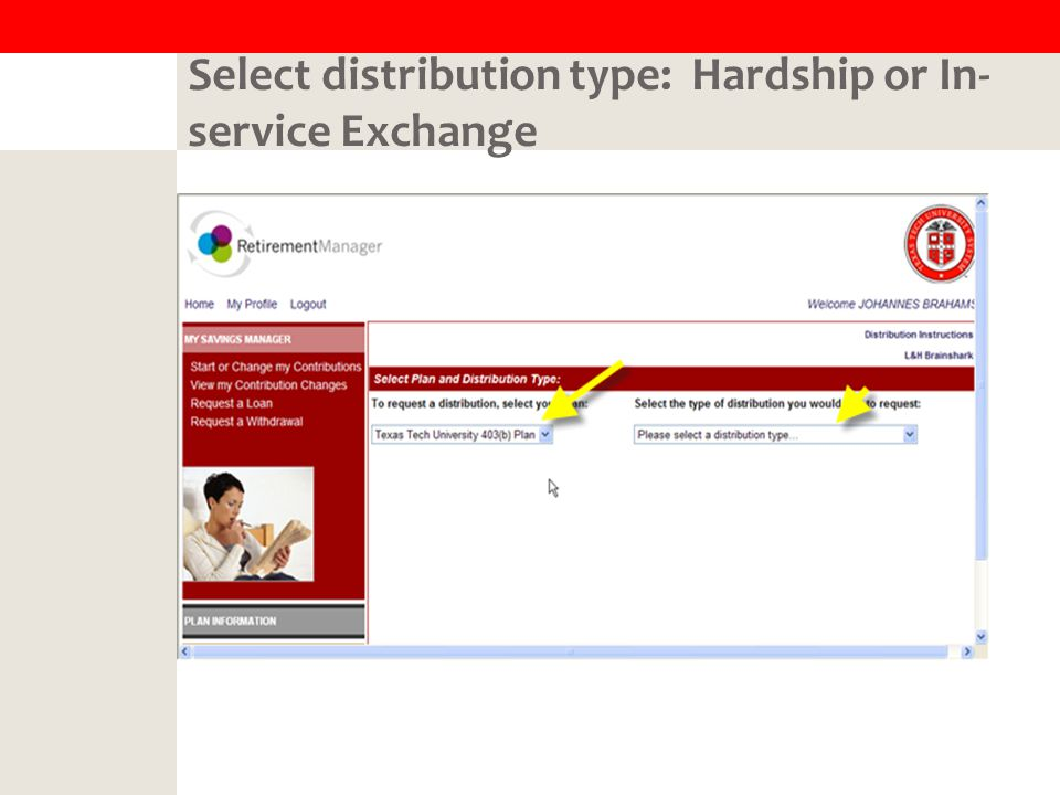 Select distribution type: Hardship or In- service Exchange