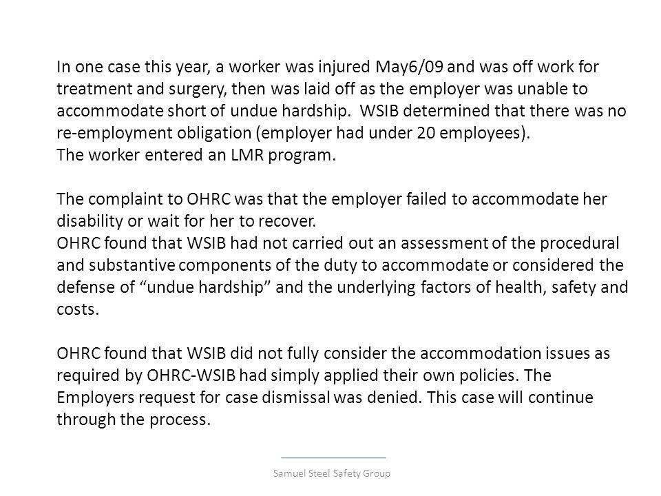 WSIB & Ontario Human Rights Samuel Steel Safety Group  - ppt