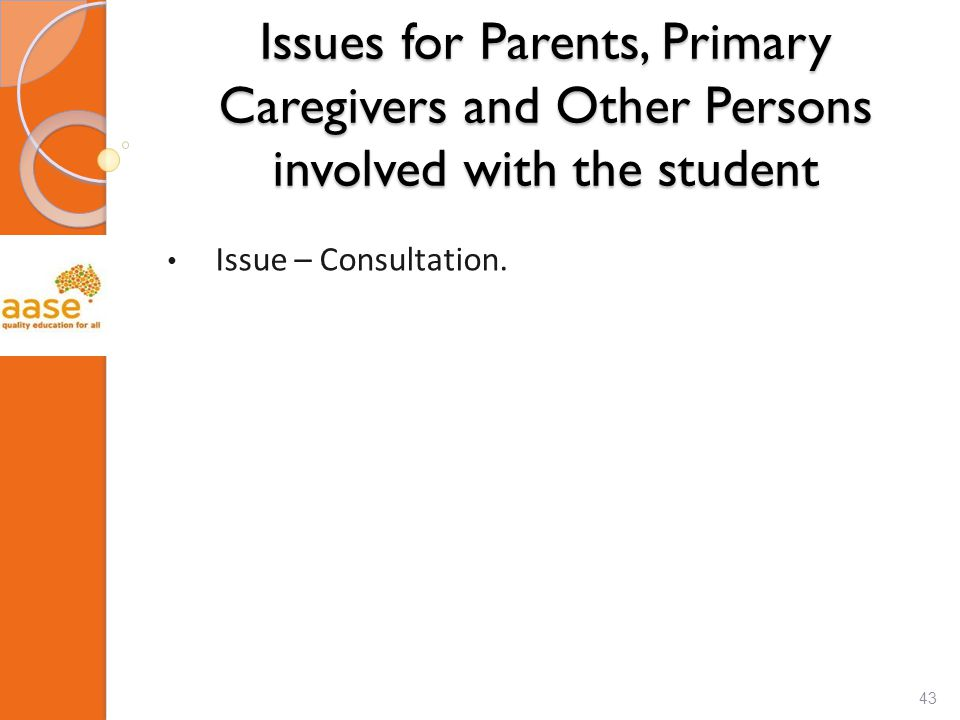 Issues for Parents, Primary Caregivers and Other Persons involved with the student Issue – Consultation.