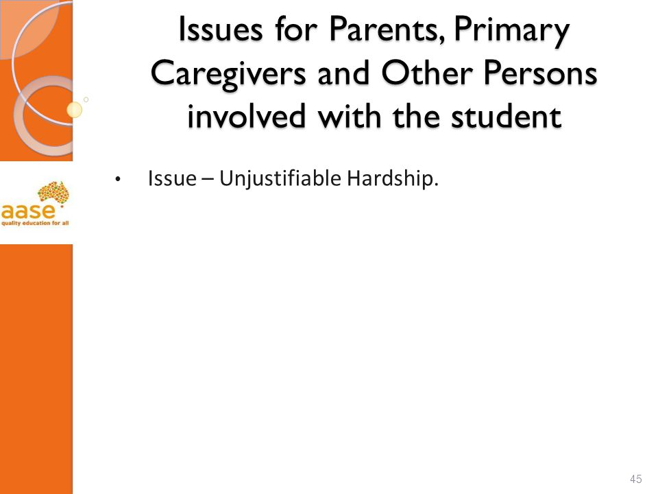 Issues for Parents, Primary Caregivers and Other Persons involved with the student Issue – Unjustifiable Hardship.