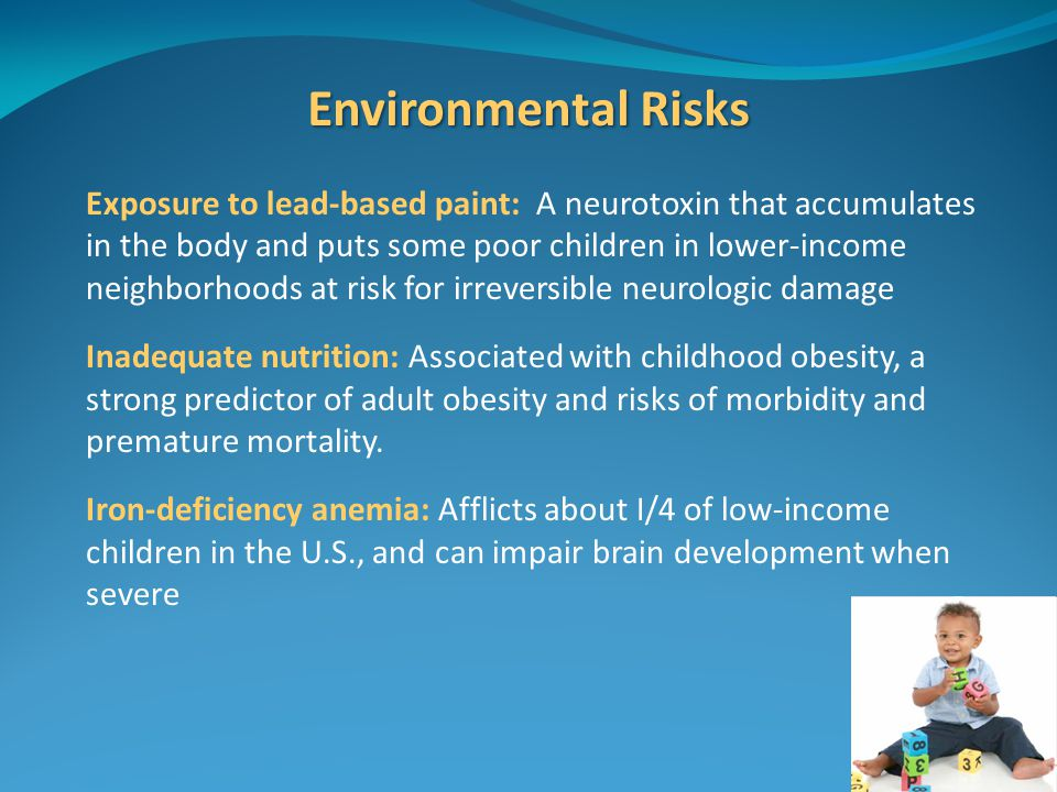 Environmental Risks Exposure to lead-based paint: A neurotoxin that accumulates in the body and puts some poor children in lower-income neighborhoods at risk for irreversible neurologic damage Inadequate nutrition: Associated with childhood obesity, a strong predictor of adult obesity and risks of morbidity and premature mortality.