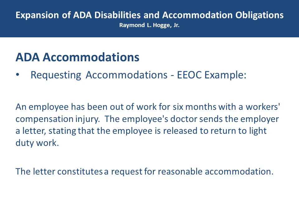 Expansion of ADA Disabilities and Accommodation Obligations