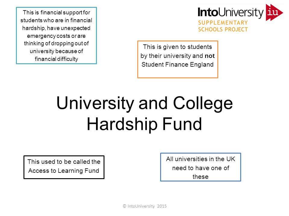 University and College Hardship Fund This is financial support for students who are in financial hardship, have unexpected emergency costs or are thinking of dropping out of university because of financial difficulty This is given to students by their university and not Student Finance England This used to be called the Access to Learning Fund All universities in the UK need to have one of these © IntoUniversity 2015